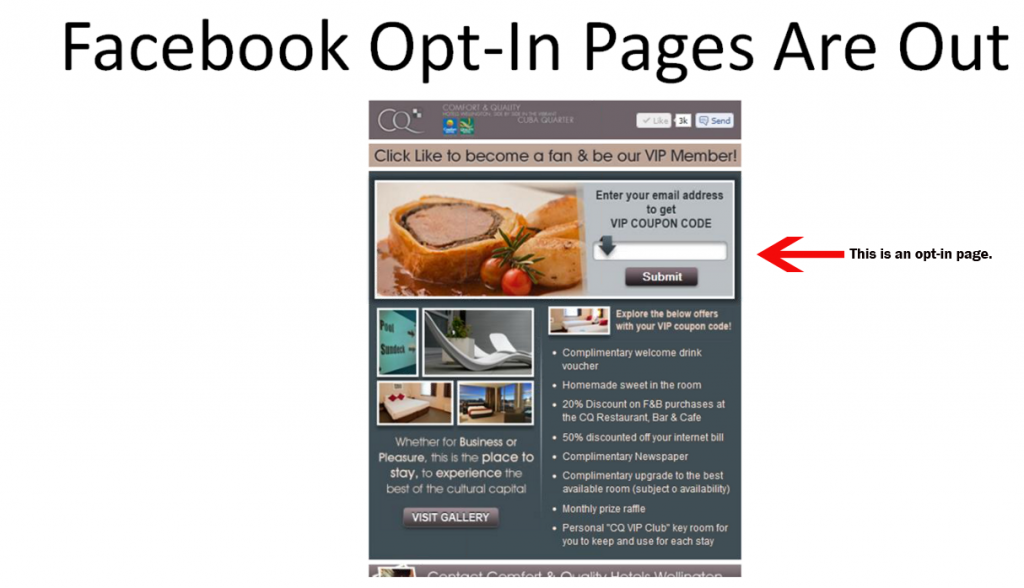Example of existing Opt-in Landing page on a Fan page